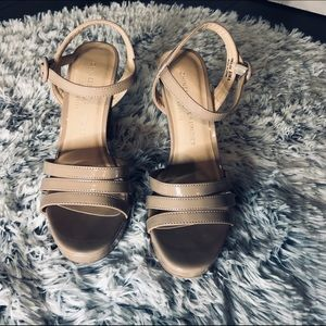 Patent Leather Tan Strappy Heels